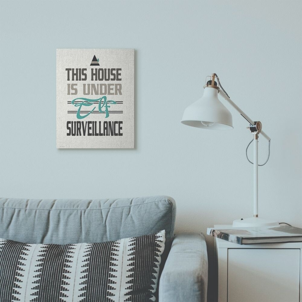 Stupell Industries Elf Surveillance Christmas Holiday Word Design Canvas Wall Art, Proudly Made in USA (16 x 20)