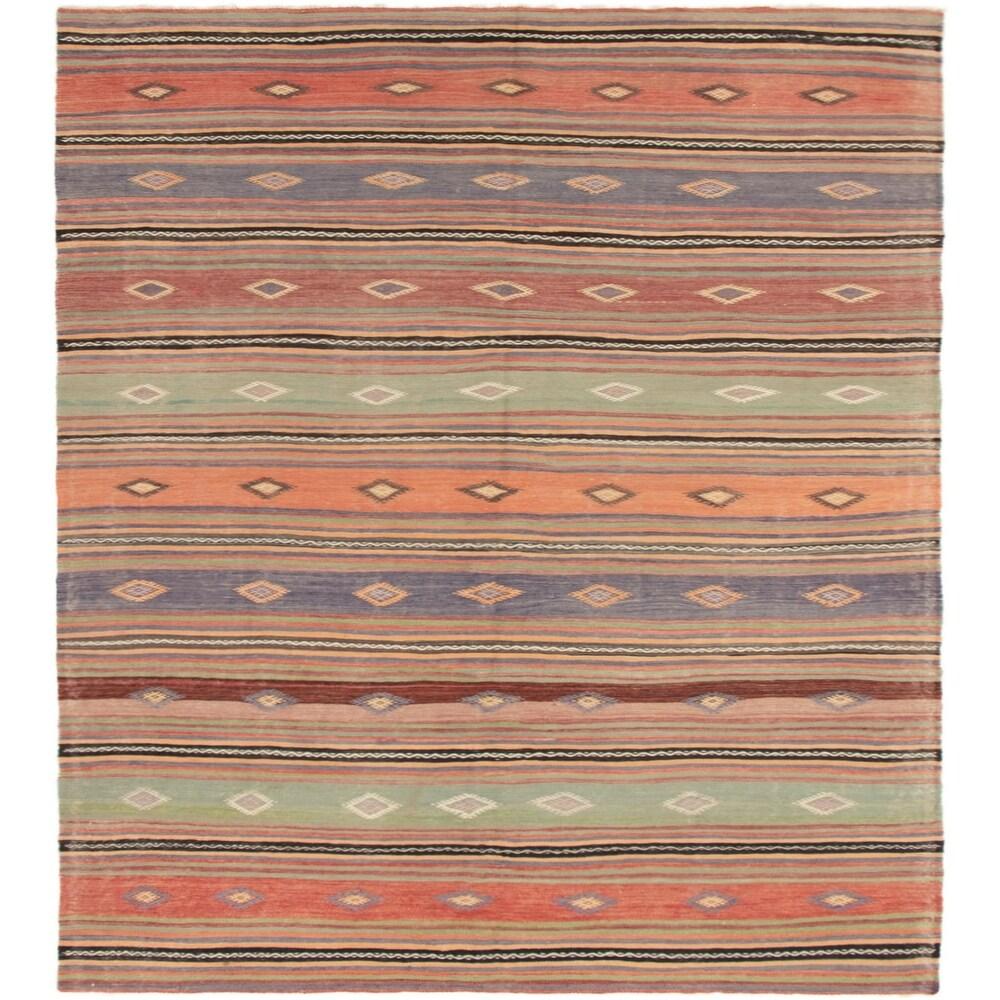 ECARPETGALLERY Flat-weave Bohemian Copper, Light Green Wool Kilim - 5'8 x 10'4 (Copper/ Light Green - 5'8 x 10'4)