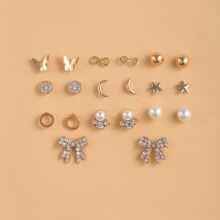 10pairs Faux Pearl & Rhinestone Decor Stud Earrings