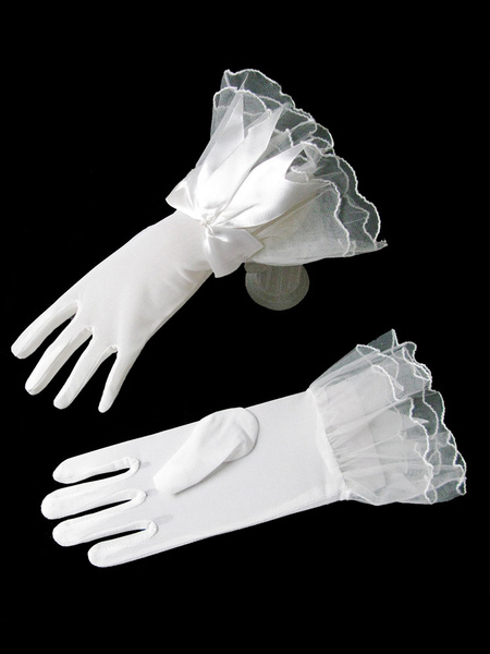 Milanoo Wedding Gloves White Vintage Short Fingertip Lace Wrist Length Bows Bridal Gloves