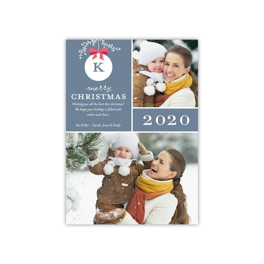20 Pack of Gartner Studios® Personalized Monogram Ornament Christmas Photo Card in Slate Blue   5