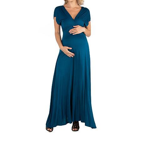 24/7 Comfort Apparel Cap Sleeve V-Neck Maxi Dress, 2x , Blue