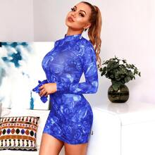 HouseOfChic Rose Flower Print Bodycon Dress With Gloves