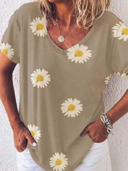 Milanoo Women Tees Light Gray Floral Print Daisy Jewel Neck Casual Tee Shirt