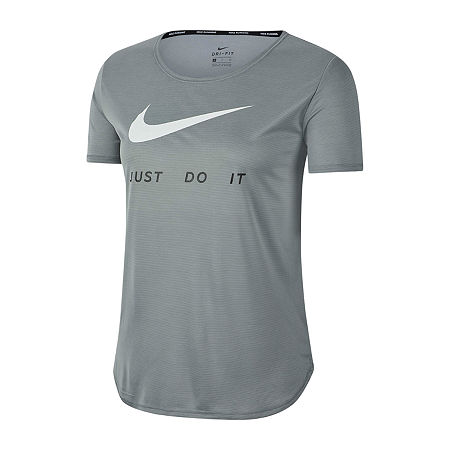 Nike Womens Crew Neck Short Sleeve Graphic T-Shirt, X-large , Gray