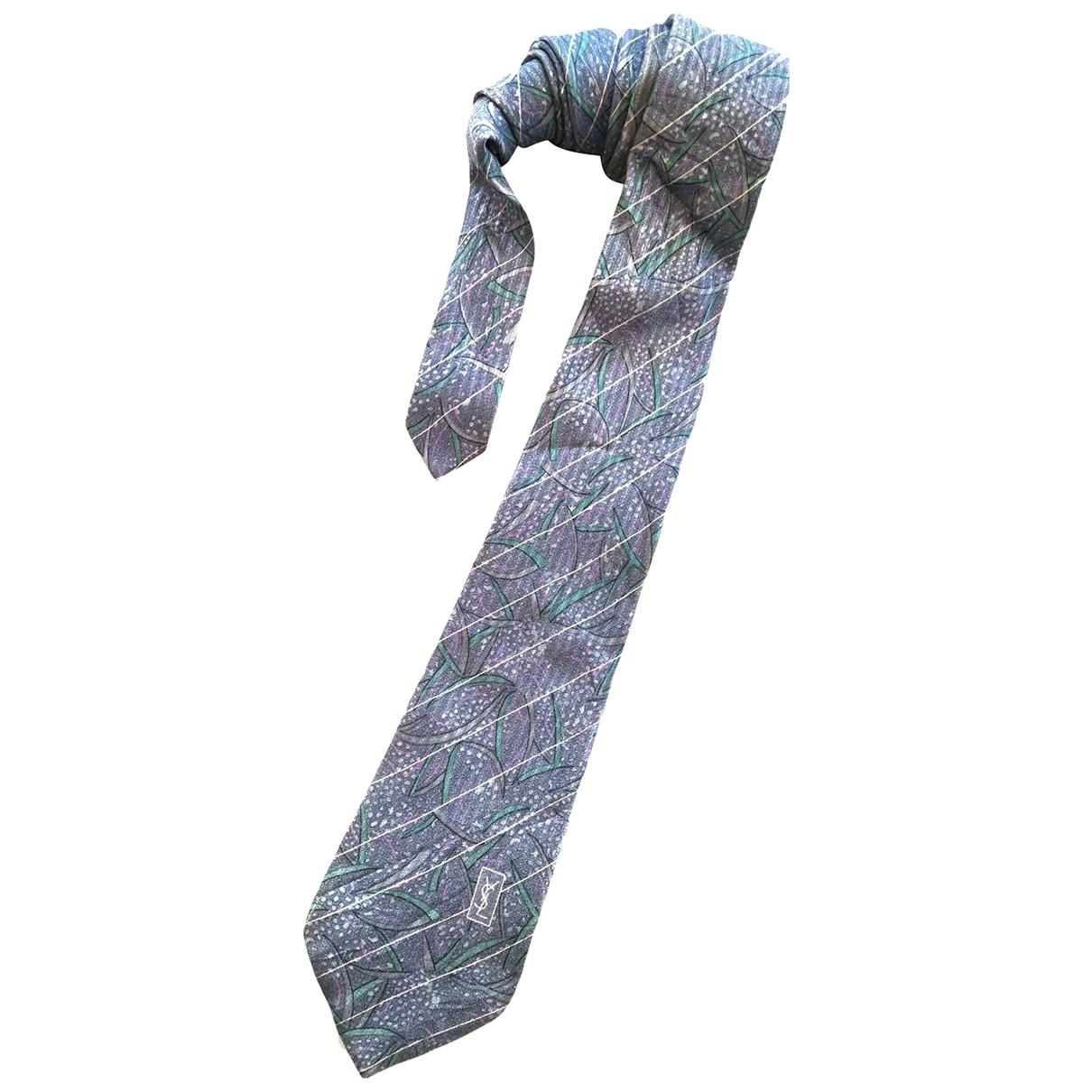 Yves Saint Laurent - Cravates   pour homme en soie - bleu