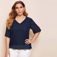 Plus Eyelash Lace Hem V-neck Top
