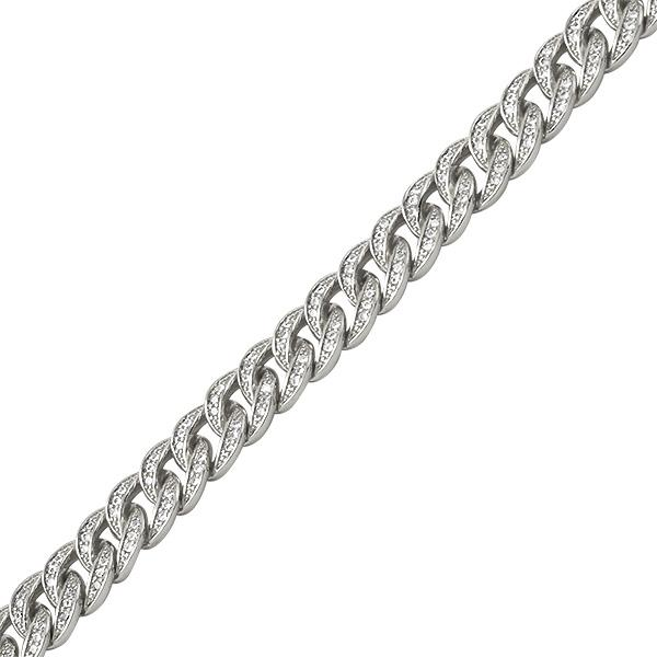 Rhodium Miami Cuban CZ Bling Bracelet 8MM