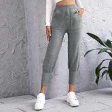 Pocket Detail Solid Ribbed Pants