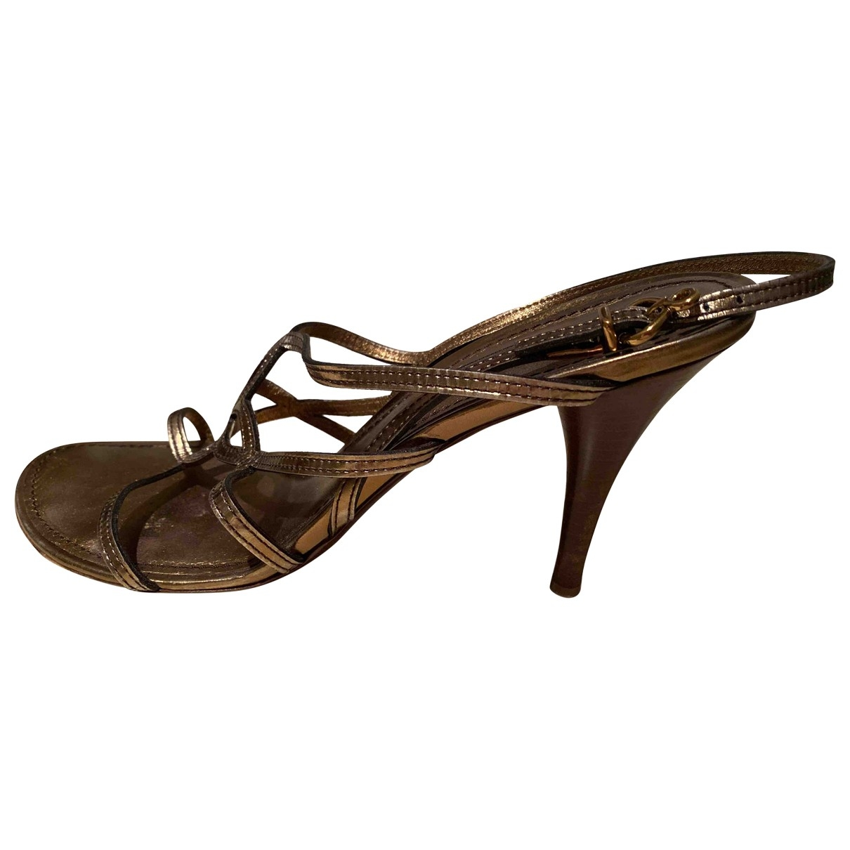 Louis Vuitton \N Metallic Leather Sandals for Women 38.5 EU