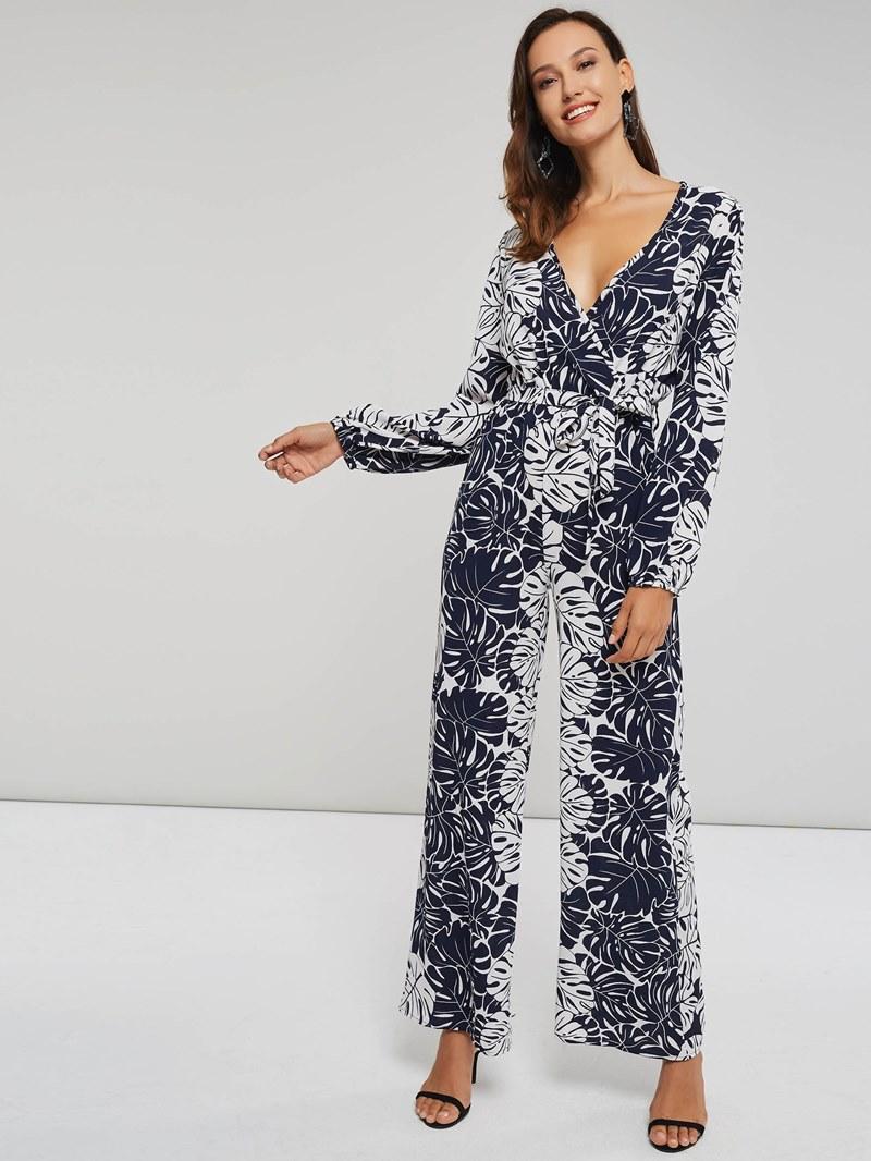 Ericdress Print Plant Belt Long-sleeve Women's Jumpsuit