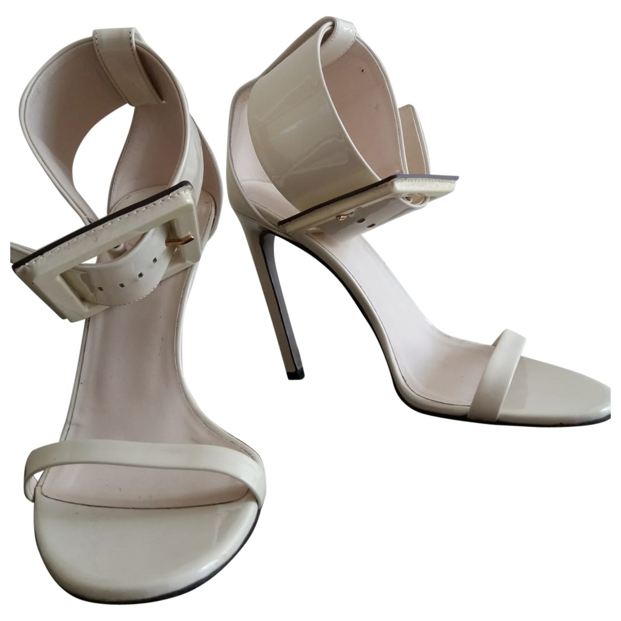 Gucci - Sandales   pour femme en cuir verni - blanc