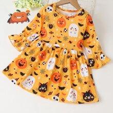 Kleid mit Halloween Muster und Schosschenaermeln