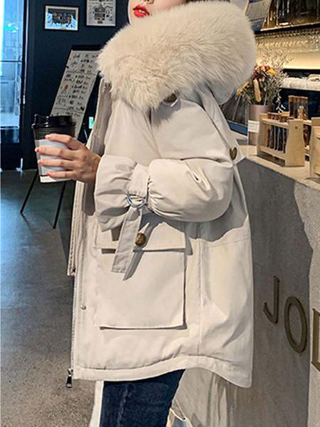 Milanoo Women\s Puffer Coat White Hooded Long Sleeves Pockets Casual Wrap Coat