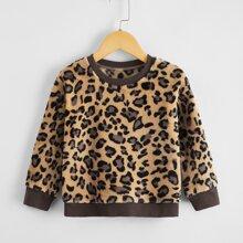 Toddler Girls Leopard Print Flannel Sweatshirt