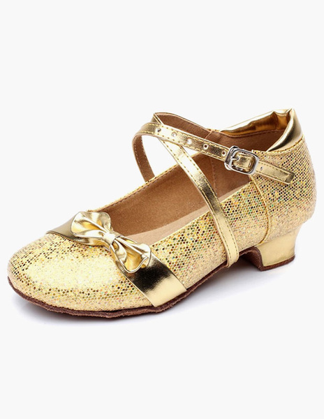 Milanoo Glitter Ballroom Shoes Round Toe Bow Criss Cross Party Shoes For Kids