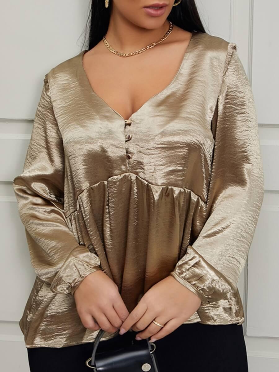 LW Lovely Trendy V Neck Ruffle Design Gold Blouse