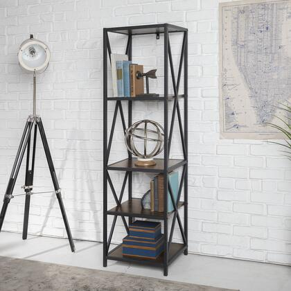 BST18XMWDW Metal X Tower With Wood Shelves In Dark