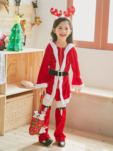 Milanoo Kids Christmas Costume Red Little Girls Dresses Sash Leg Warmer 3 Piece Set Halloween