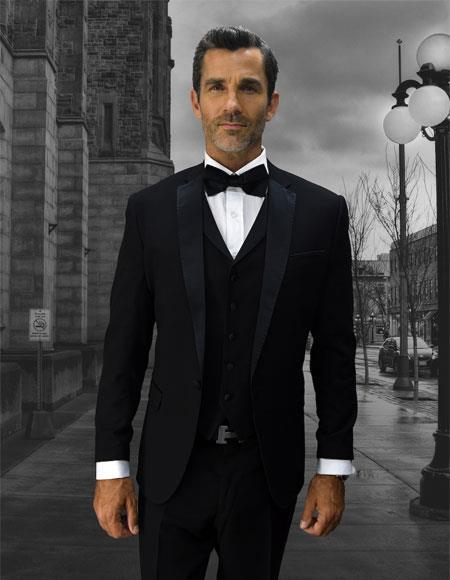 Men's Black Double Breasted Vest 1 Button Black Notch Lapel Suit