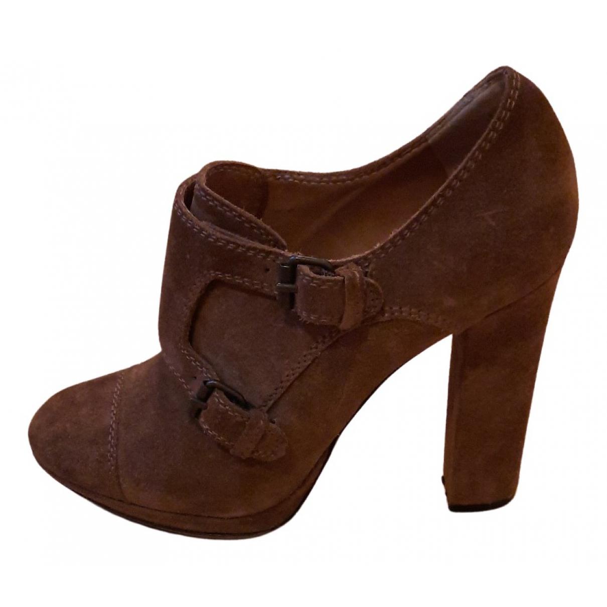 Lanvin - Boots   pour femme en cuir - camel