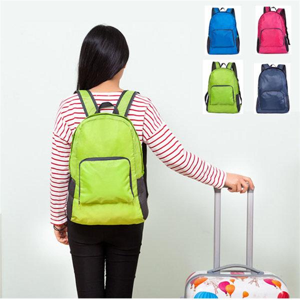 Nylon Folding Backpack Lightweight Casual Sports Travel Shoulder Bag