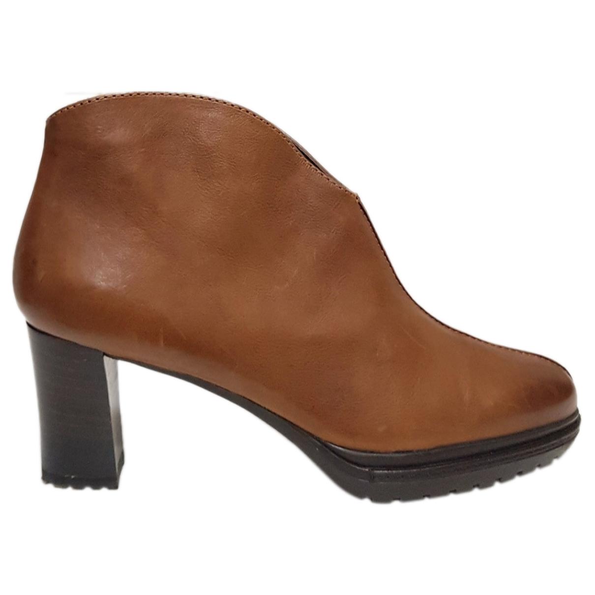 Jaime Mascaro - Boots   pour femme en cuir - marron