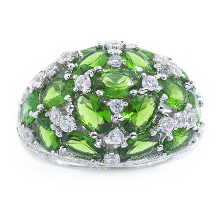 Sparkle Allure Pure Silver Over Brass Green Crystal and Cubic Zirconia Ring, 9 , No Color Family