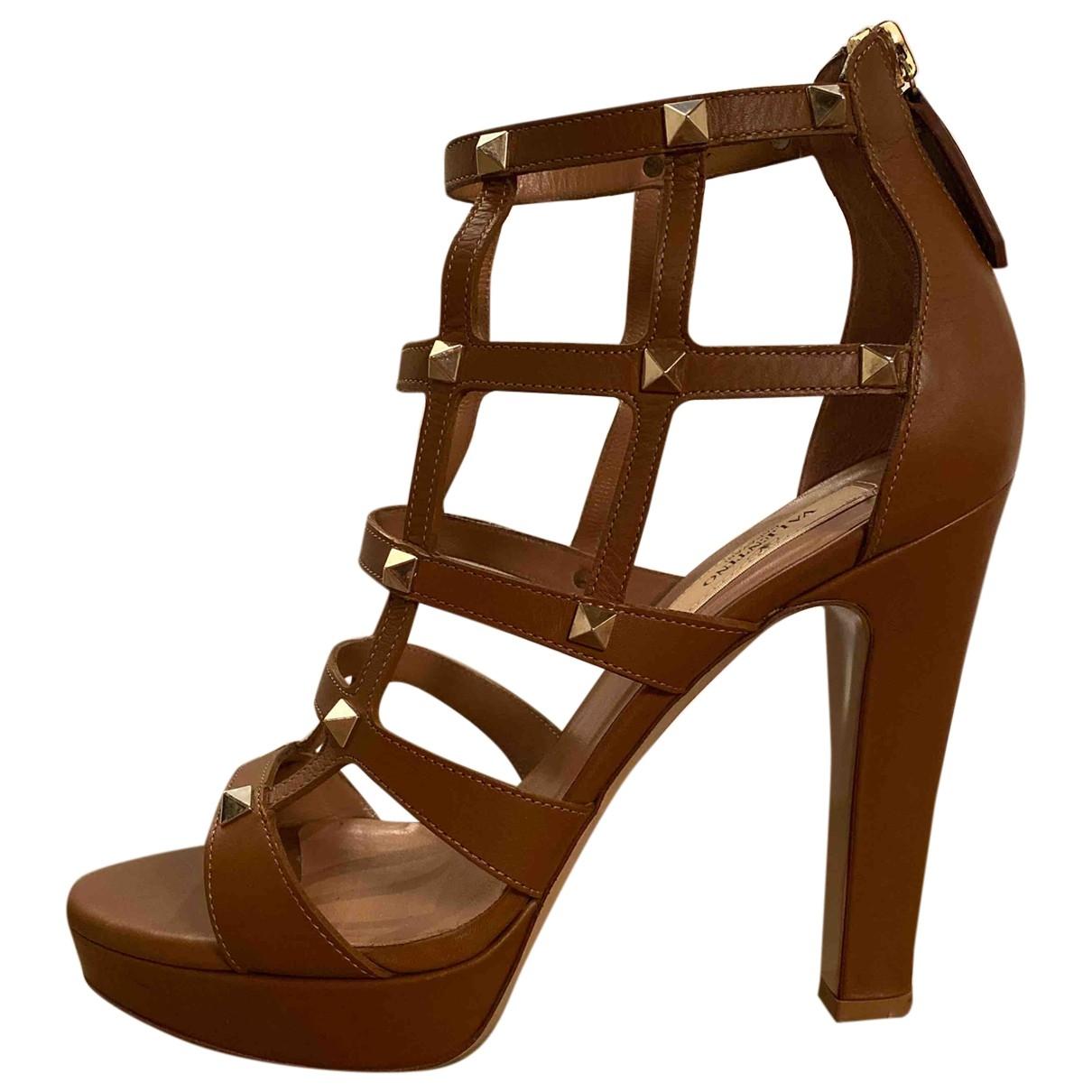 Valentino Garavani \N Camel Leather Sandals for Women 38.5 EU