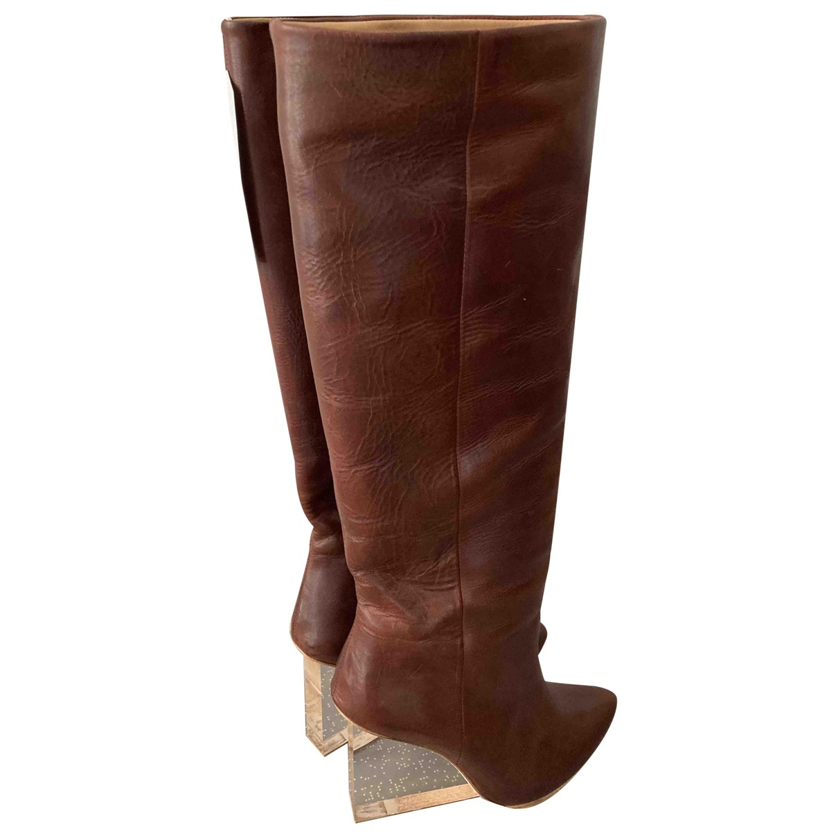 Maison Martin Margiela Pour H&m N Brown Leather Boots for Women 7 UK
