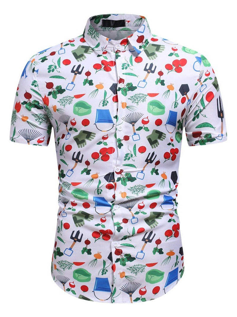 Ericdress Korean Print Lapel Slim Single-Breasted Shirt