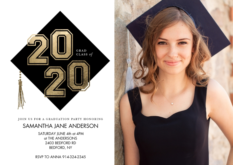 2020 Graduation Invitations 5x7 Cards, Premium Cardstock 120lb with Rounded Corners, Card & Stationery -Grad Party Class of 2020 Cap by Tumbalina