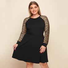 Plus Leopard Print Raglan Sleeve Dress