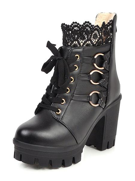 Milanoo Sweet Lolita Boots Black Lace Round Toe PU Leather Chunky Heel Lolita Footwear