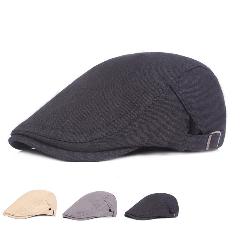 Mens Vintage Adjustable Warm Cotton Solid Sunshade Beret Caps Casual Travel Sunscreen Forward Hat