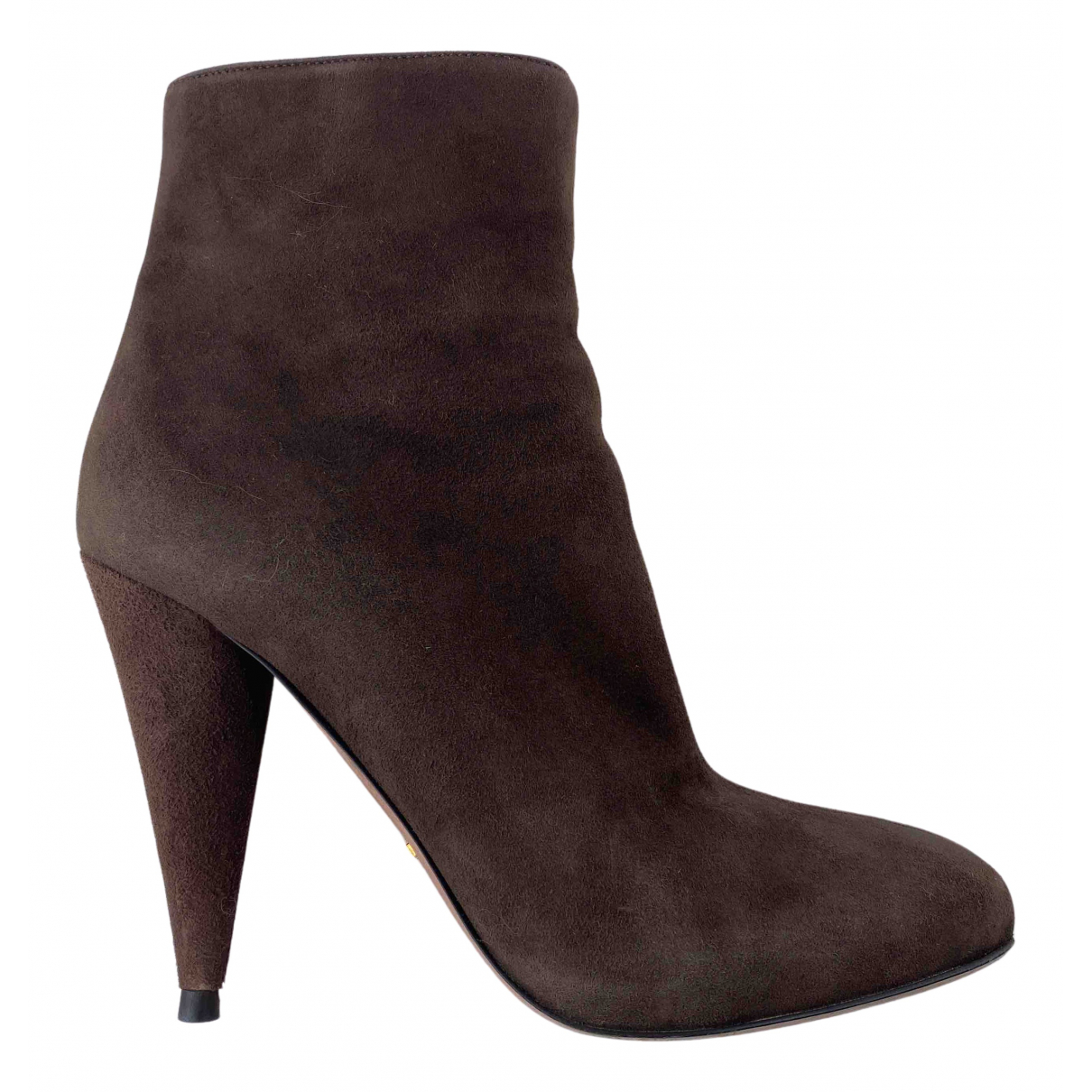 Prada N Brown Suede Ankle boots for Women 38 EU