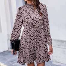 Keyhole Back Frill Neck Dalmatian Dress