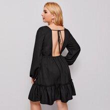 Plus Lantern Sleeve Tie Back Ruffle Hem Dress