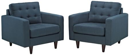 Empress Collection EEI-1283-AZU Set of 2 Armchairs with Solid Wooden Tapered Legs  Deeply Tufted Buttons and Fabric Upholstery in Azure