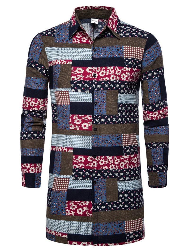 Ericdress Lapel Plaid Print Men's Single-Breasted Shirt