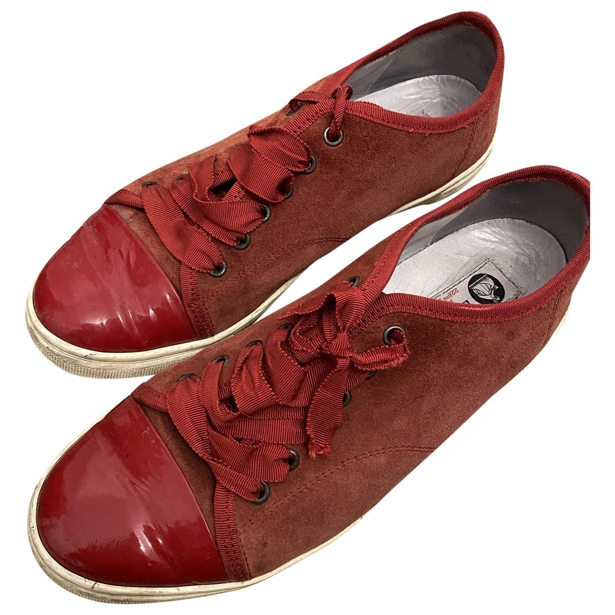 Lanvin - Baskets   pour homme en suede - rouge