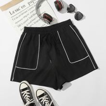 Plus Contrast Piping Track Shorts