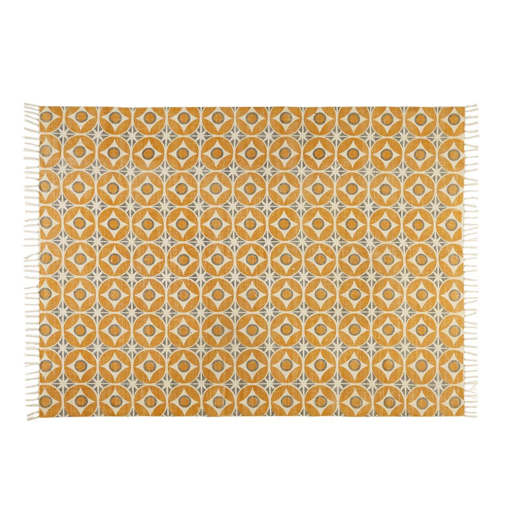 Baumwollteppich mit senfgelbem Zementfliesen-Muster 160x230cm