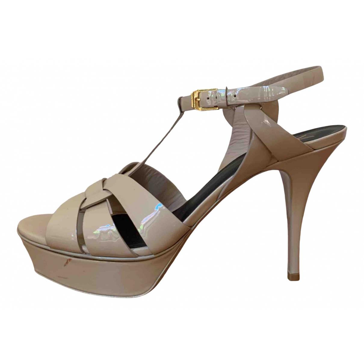 Saint Laurent Tribute Beige Patent leather Sandals for Women 41 EU