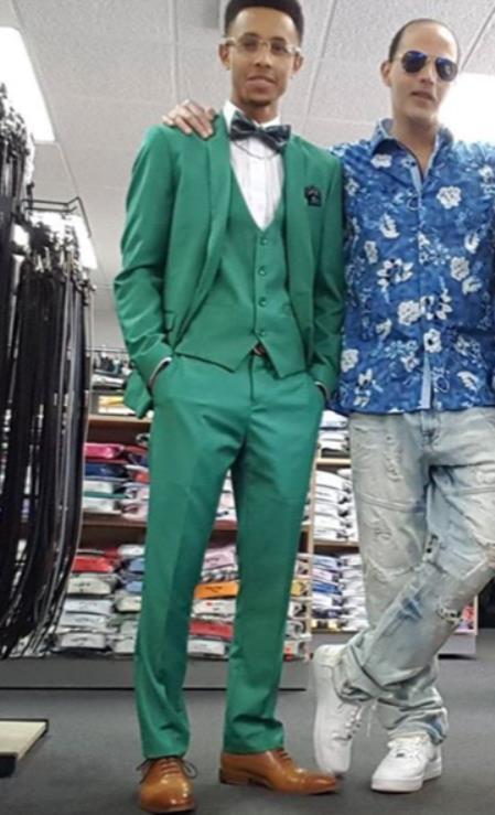 Mens Single Breasted Peak Lapel Green Suit