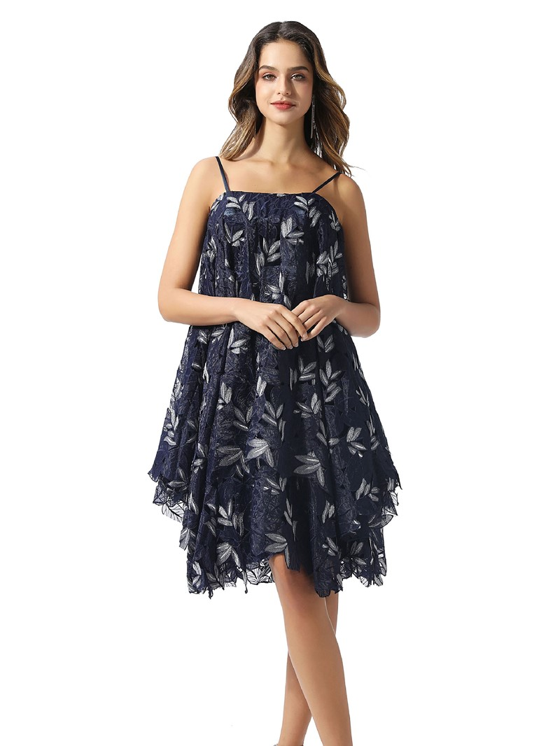 Ericdress Knee-Length A-Line Lace Spaghetti Straps Cocktail Dress 2020