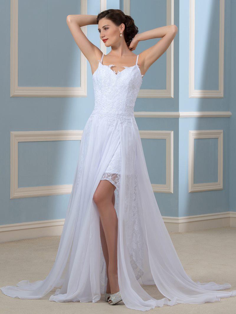 Ericdress Spaghetti Straps Split Front Beach Wedding Dress