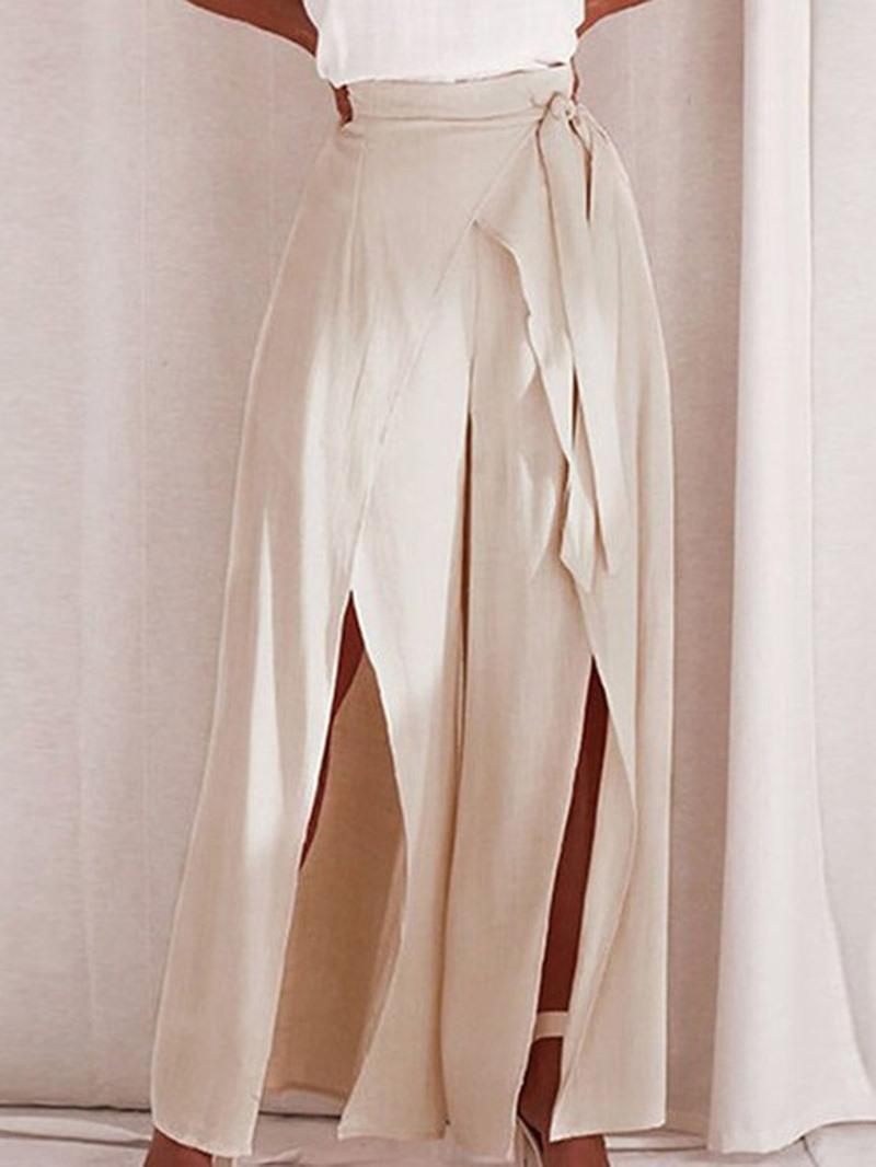 Ericdress Loose Plain Split Full Length Wide Legs Casual Pants