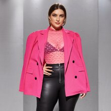 Plus Puff Sleeve Double Breasted Blazer