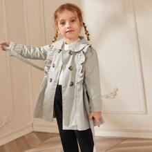 Toddler Girls Ruffle Self Belted Double Breasted Trench Coat